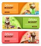 Rich Dessert Horizontal Banners Set estremo Immagine Stock
