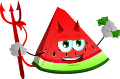 Rich devil slice of watermelon Royalty Free Stock Images