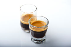 Rich Espresso shots in shot glass Stock Photo