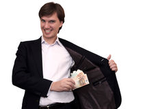 Rich and evil businessman, isolated on whi Royalty Free Stock Photos