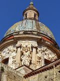 Rich external decorations of the dome of the church ` del Carmine Maggiore` to Palermo, Sicily, Italy. royalty free stock image