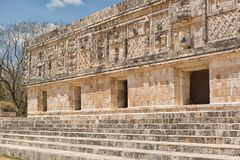 Uxmal mayan ruins Mexico. Rich facade carvings at the prehispanic town of Uxmal , a Unesco World Heritage site Stock Image