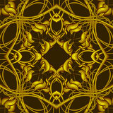 Rich Fantasy Golden Pattern with Fantastic foliage elements for Stock Photography