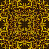 Rich Fantasy Golden Pattern with Fantastic foliage elements for Stock Image