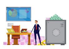 Rich Financial Clerk Composition. Flat composition with financial worker character in private office environment with closed safebox and money pyramids vector Stock Photo