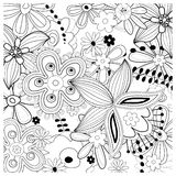 Rich floral pattern. Beautiful floral sample in black and white Royalty Free Stock Image