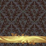 Rich floral Wallpaper with golden Border. Royalty Free Stock Photos
