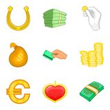 Rich folks icons set, cartoon style Stock Image