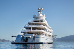 Rich - front view of five story luxury yacht on the Mediterranean Sea royalty free stock images