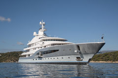 Rich - front view of five story luxury yacht on the Mediterranea Royalty Free Stock Photography