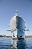 Rich - front view of five story luxury yacht on the Mediterranea Royalty Free Stock Photo