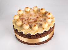 Rich fruit cake/Simnel cake Traditional British Easter cake, with marzipan topping and the traditional 12 balls of marzipan Royalty Free Stock Image