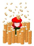 Rich girl. Julia is very happy to be a rich girl and lives happily in her money Royalty Free Stock Image