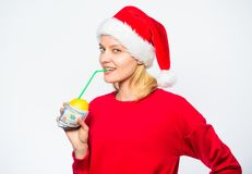 Rich girl with lemon and money. Woman lemon millionaire. Symbol of wealth and prosperity. Source of richness. Richness. Symbol concept. Girl santa hat drink stock images