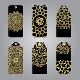 Rich gold gift tags in the Arabic style. Stock Photography
