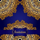 Rich gold invitation card in the Indian style. Royalty Free Stock Photography