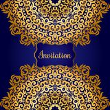 Rich gold invitation card in the Indian style. Stock Photos