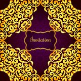 Rich gold invitation card in the Indian style. Stock Image