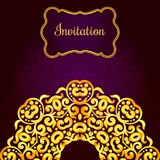 Rich gold invitation card in the Indian style. Stock Photography
