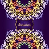 Rich gold invitation card in the Indian style. Bohemian Cards with mandalas. Royal purple and gold ornament. Unique template for design or backdrop Royalty Free Stock Image