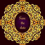 Rich gold invitation card in the Indian style. Royalty Free Stock Images