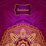 Rich gold invitation card in the Indian style. Bohemian Cards with mandalas. Royal purple and gold ornament. Unique template for design or backdrop Stock Photography