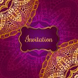 Rich gold invitation card in the Indian style. Bohemian Cards with mandalas. Royal purple and gold ornament. Unique template for design or backdrop Stock Image