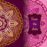 Rich gold invitation card in the Indian style. Bohemian Cards with mandalas. Royal purple and gold ornament. Unique template for design or backdrop Royalty Free Stock Images