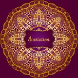 Rich gold invitation card in the Indian style. Bohemian Cards with mandalas. Royal purple and gold ornament. Unique template for design or backdrop Royalty Free Stock Photos