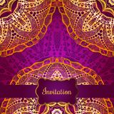 Rich gold invitation card in the Indian style. Bohemian Cards with mandalas. Royal purple and gold ornament. Unique template for design or backdrop Royalty Free Stock Photography