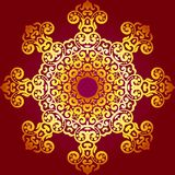 Rich gold ornament in the Indian style. Bohemian background with mandalas. Royal red and gold ornament. Unique template for design or backdrop Royalty Free Stock Images