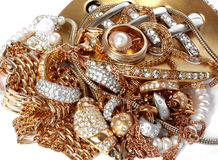 Rich golden accessories isolated Royalty Free Stock Photography