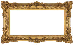 Rich Golden Baroque Frame. Golden Frame isolated on white background. Clipping path included Stock Photography