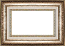 Rich golden frame. Golden horizontal thick frame isolated on white background Stock Photography
