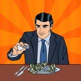 Rich Greedy Businessman Salts Money in der Platte Pop-Art vektor abbildung