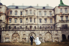 Rich groom and bride huggingoutdoor background wall grass warm a Royalty Free Stock Image