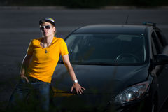 A rich guy in a car, cool dude Royalty Free Stock Photos