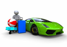 Rich guy in vacantion. 3D render image representing a rich guy with baggage beside of supercar Royalty Free Stock Photos