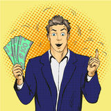 Rich handsome guy hold money and point his finger up. Business concept vector in pop art style. Royalty Free Stock Photos