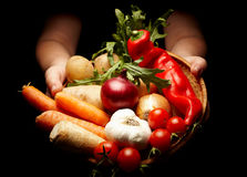 Rich harvest. Female hands holding a basket full of vegetables isolated on black Royalty Free Stock Image