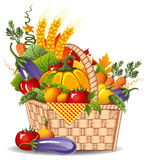Rich harvest. Of vegetables and fruits,  illustration Royalty Free Stock Images