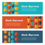 Rich Harvest flat banners set Royalty Free Stock Image