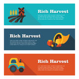 Rich Harvest flat banners set Stock Photo
