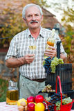 Rich harvest. Happy elderly man with wine and harvest crops Royalty Free Stock Images