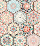 Rich Hexagon Tile Ornament. From colorful mandalas. Seamless pattern in oriental style. Square tile patchwork design. Intricate tile pattern. Boho chic tile stock images