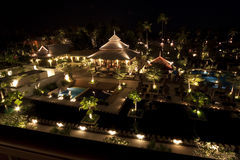Rich hotel. Night pool side of rich hotel Stock Images