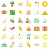 Rich icons set, cartoon style Stock Photo