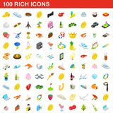 100 rich icons set, isometric 3d style. 100 rich icons set in isometric 3d style for any design illustration royalty free illustration