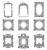 Rich Imperial Baroque Rococo frames set. French Luxury carved ornaments. Vector Victorian exquisite Style decorated Stock Photos