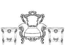 Rich Imperial Baroque Rococo furniture and frames set. French Luxury carved ornaments. Vector Victorian exquisite Style Stock Images